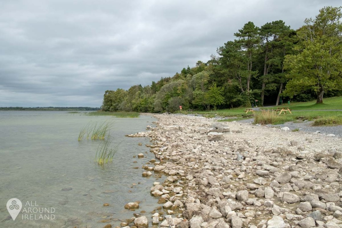Picnic benches dot the shore of Lough Ennell at Belvedere House and Estate