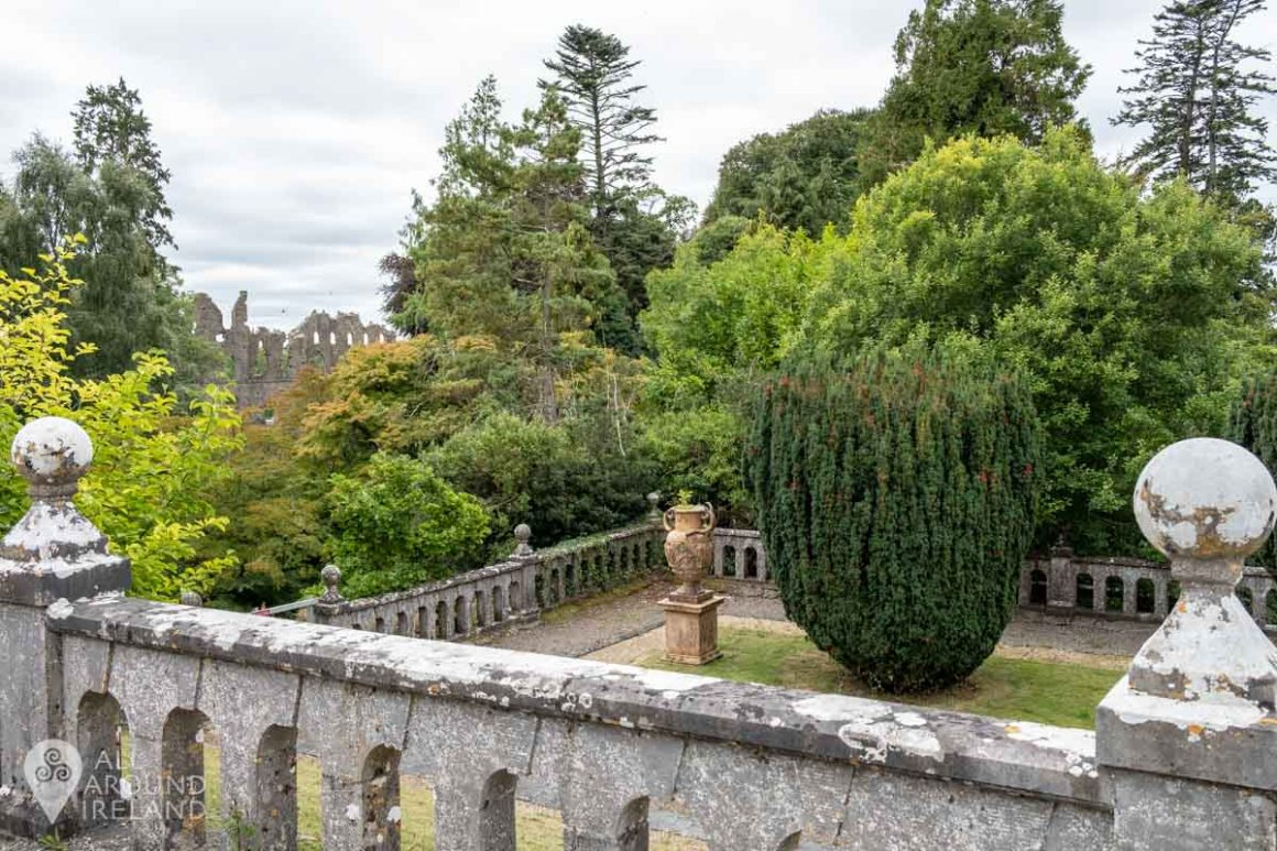 Only a peek of the Jealous Wall can now be seen from the terrace at Belvedere House.