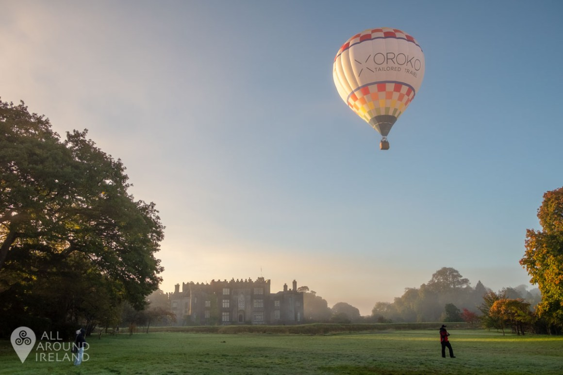 Hot air balloon launching in front of Birr Castle. Irish Hot Air Ballooning Championships 2018.