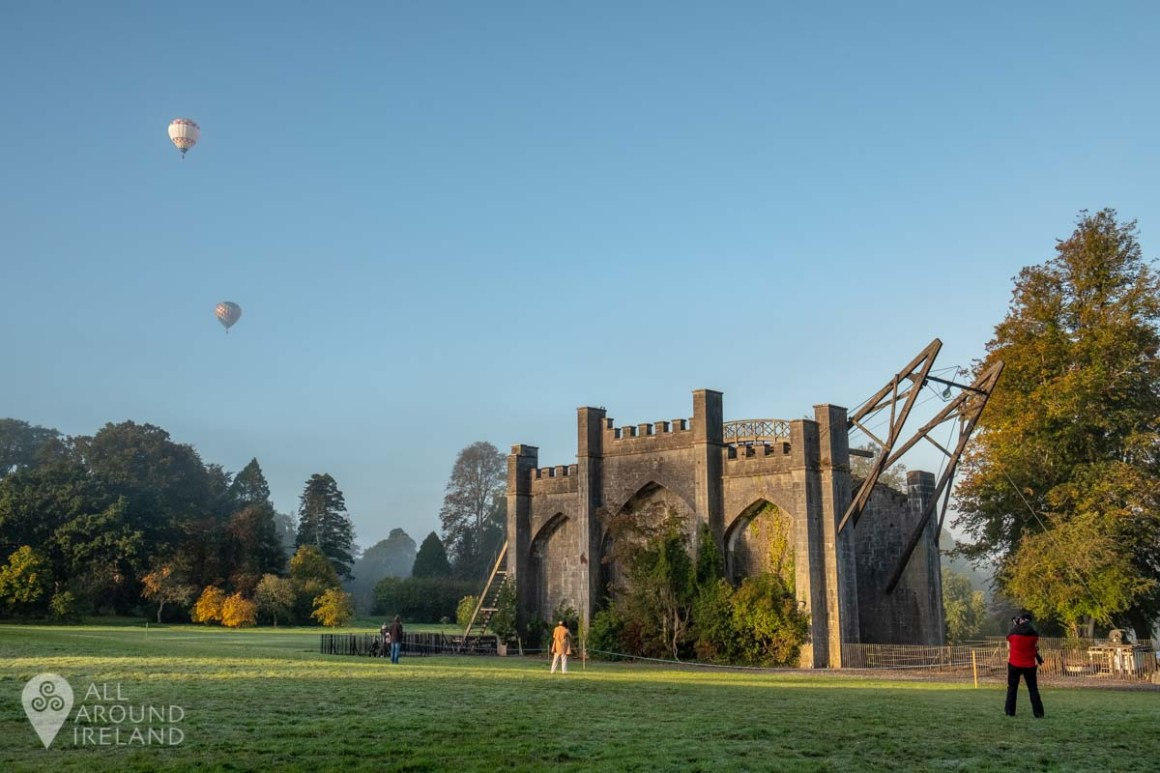 Hot air balloons in the distance after launching from the grounds of Birr Castle. Irish Hot Air Ballooning Championships 2018.