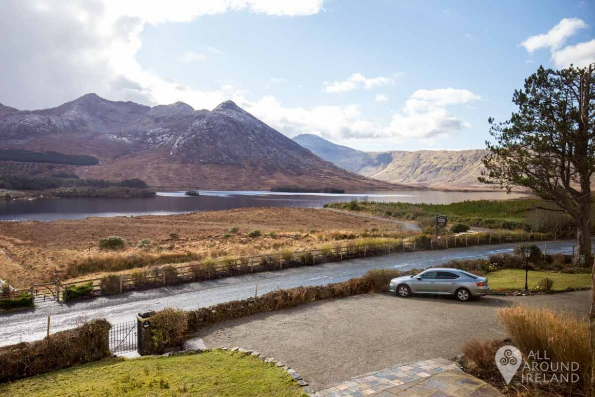 The stunning view from our room at Lough Inagh Lodge