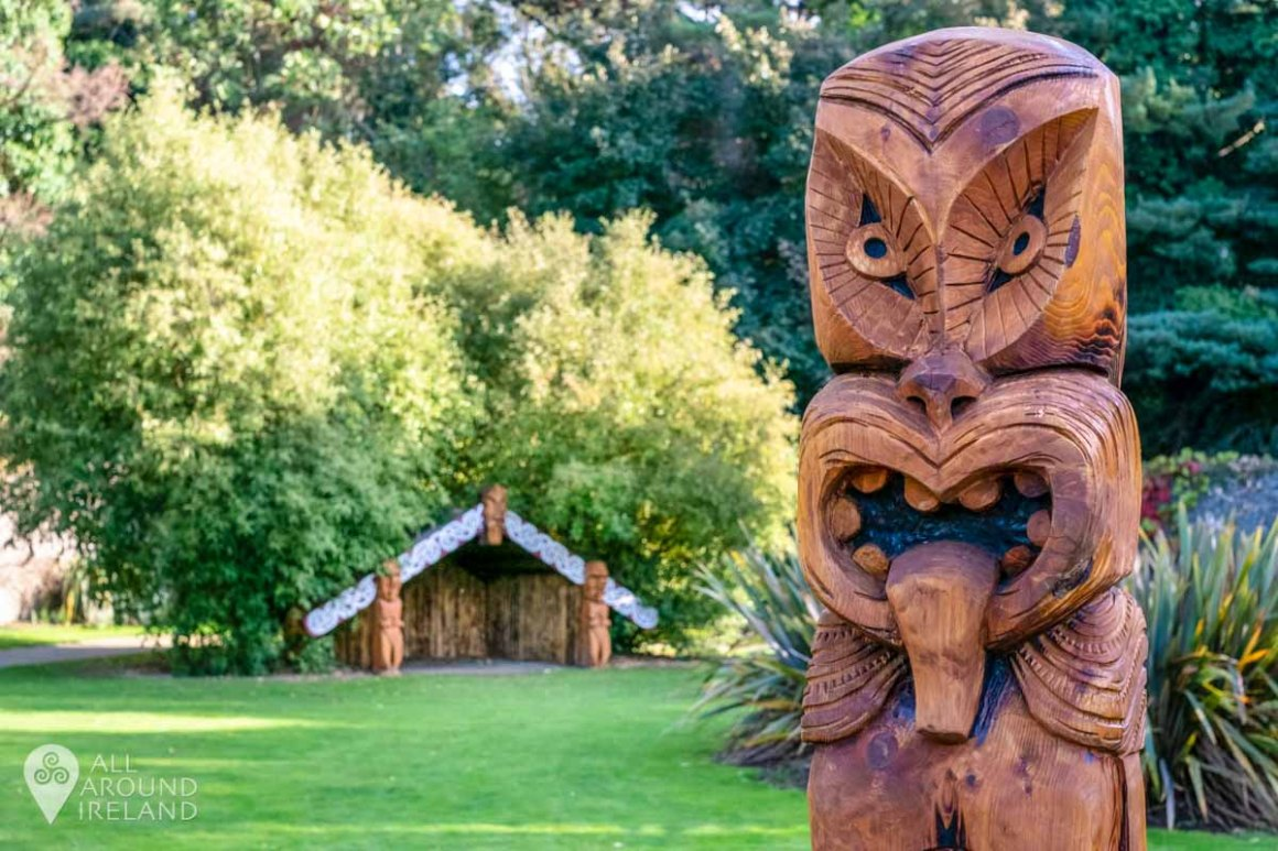 Tiki carvings in the Walled Garden at Malahide Castle.