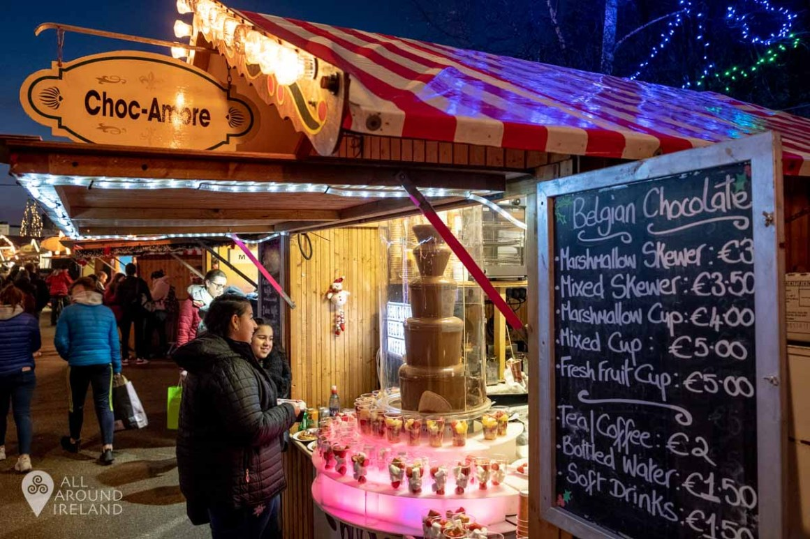 Chocolate fountain at the Galway Christmas Market