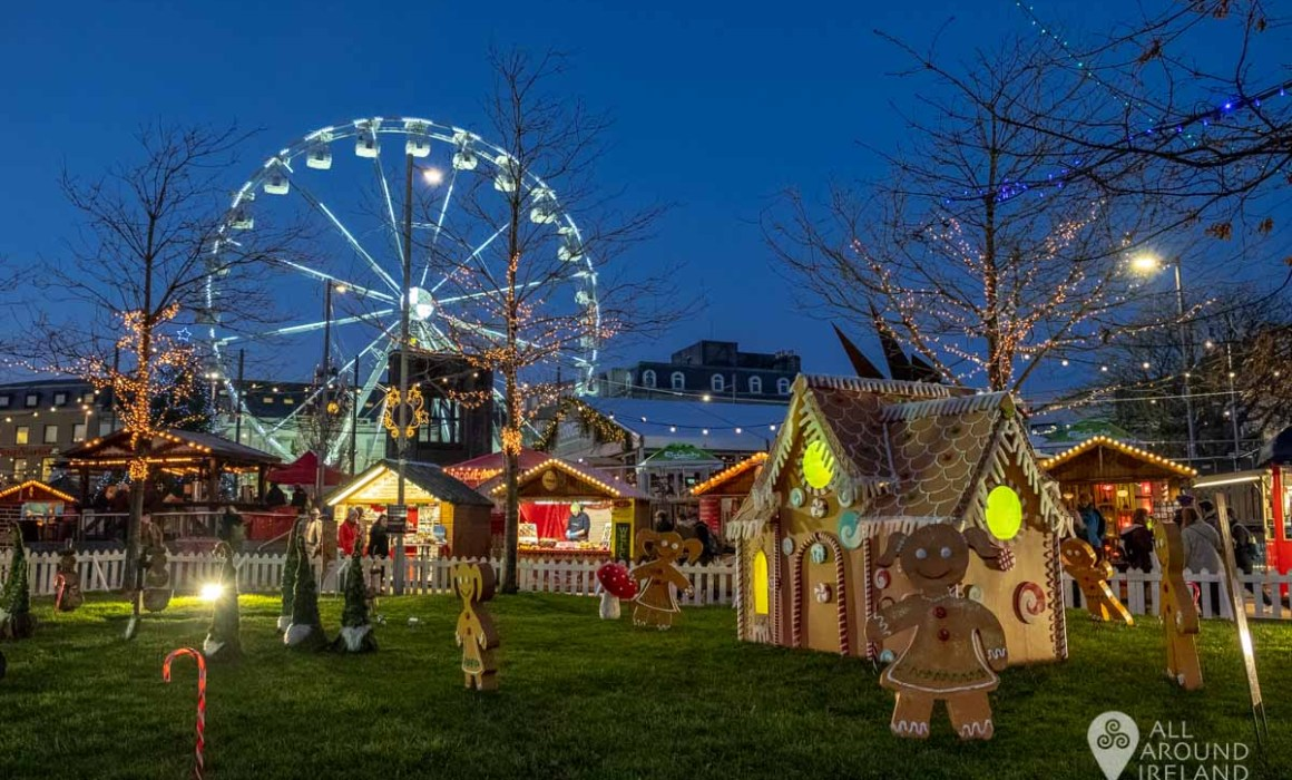 Gingerbread house and big wheel at Galway Christmas Market