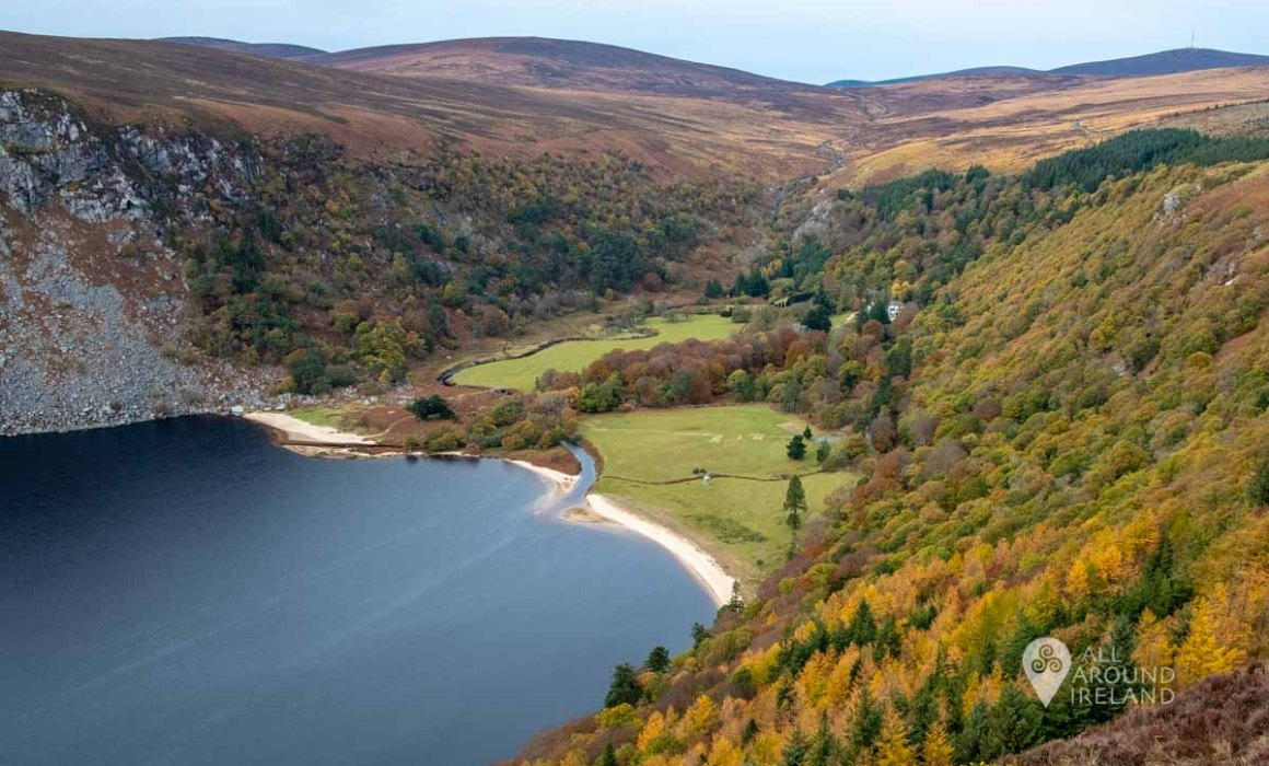 The autumn colours providing a pop of colour at Lough Tay Co Wicklow