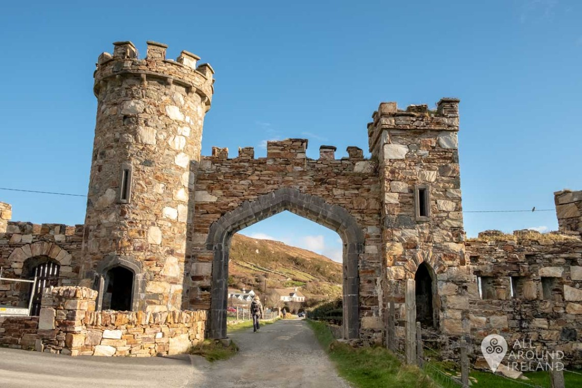 Close up of the medieval style gateway to Clifden Castle