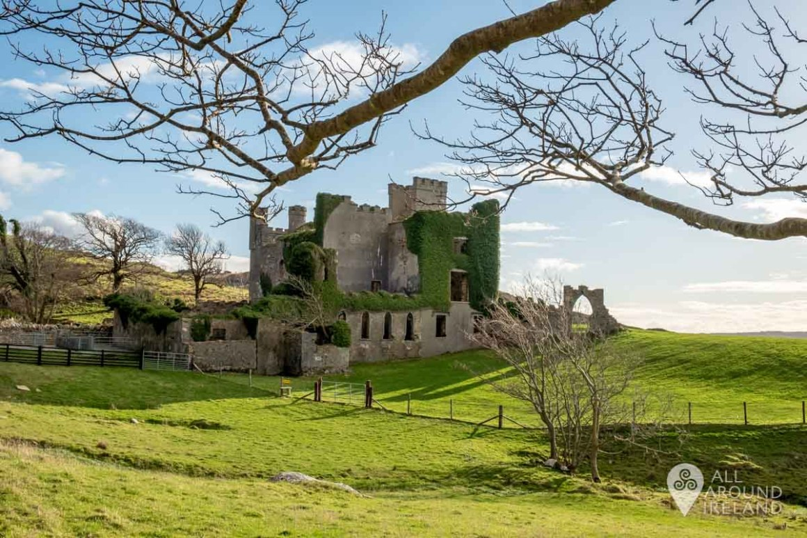 Looking back to Clifden Castle from the enclosed farmyard