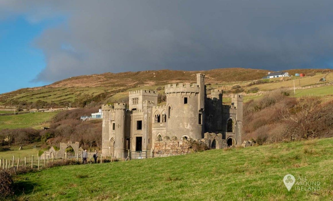 Looking up towards Clifden Castle from the walkway