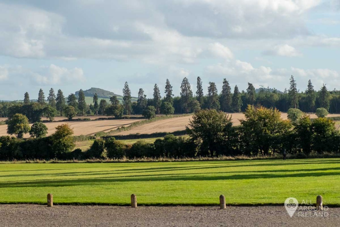 The view towards the hills from the front steps of Emo Court.