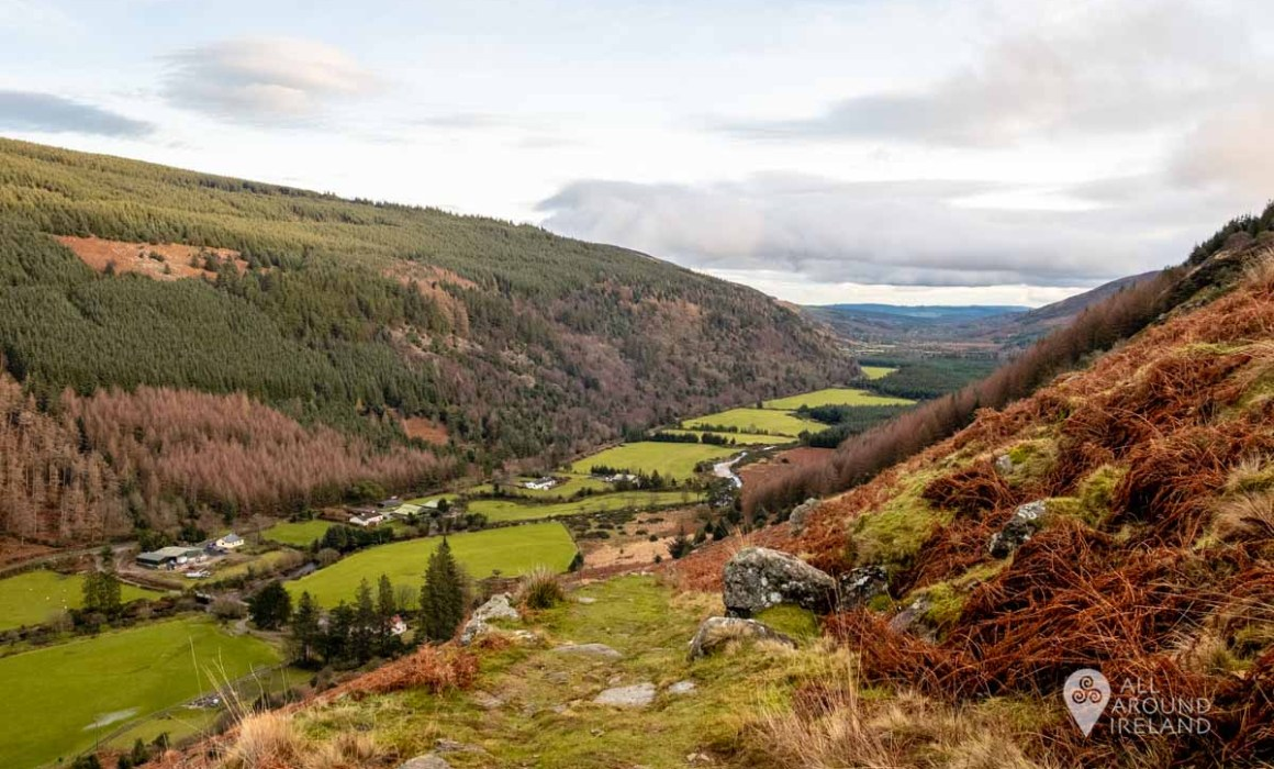 Looking back at Glenmalure Valley from the Zig-Zags trail