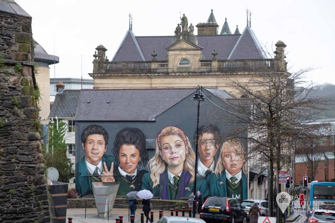 Derry Girls mural near Foyleside Shopping Centre in Derry