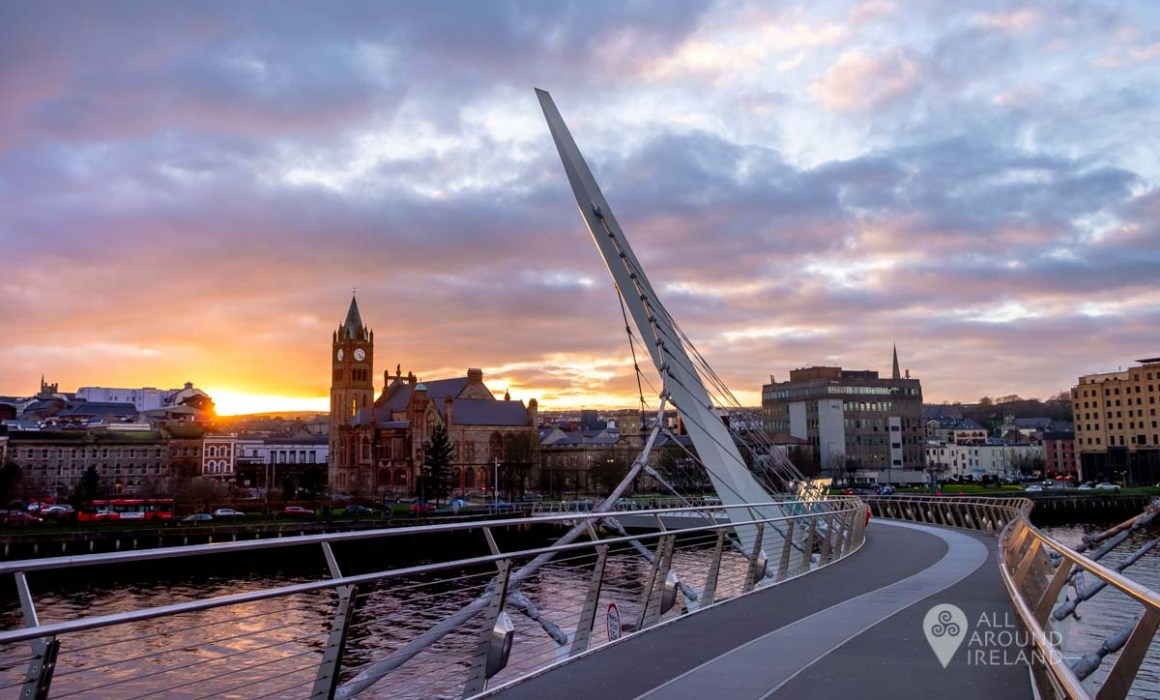 Looking back to the Guildhall from the Peace Bridge