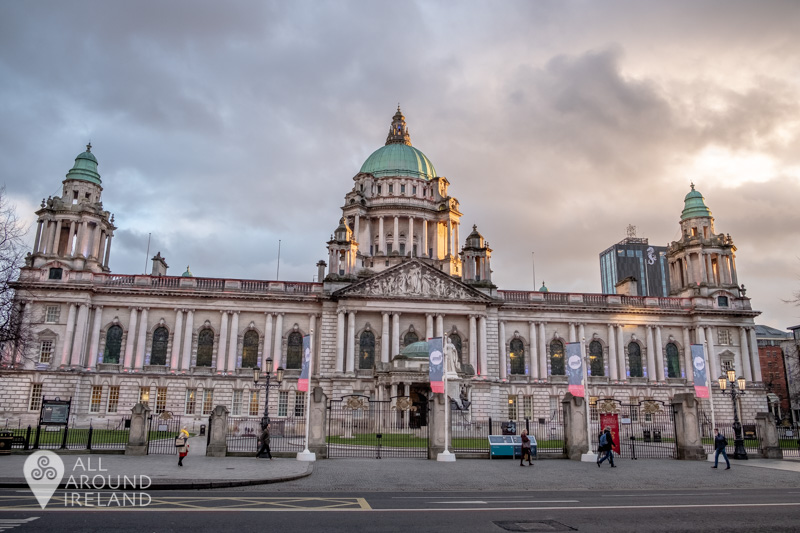 Stormy clouds over Belfast City Hall at sunset