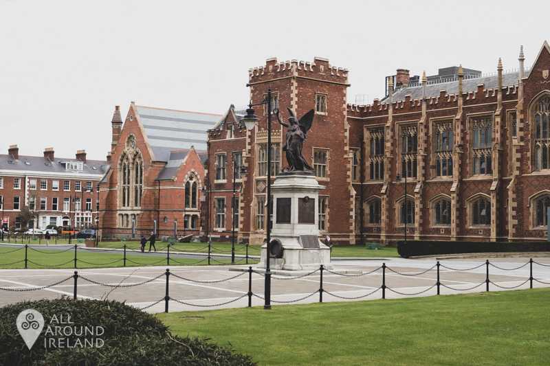 Image of statue in front of the Lanyon building at Queens University Belfast
