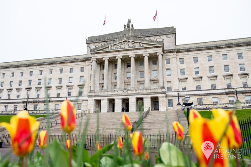 Colourful flowers in front of the main Stormont building