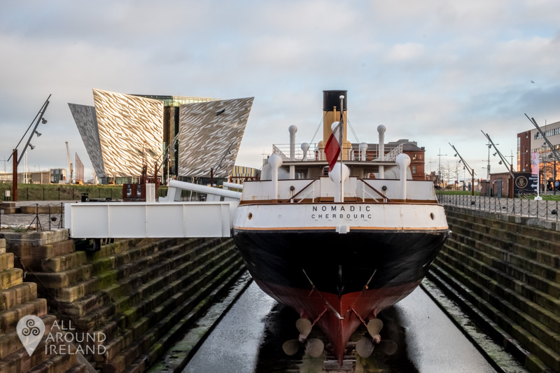 The SS Nomadic with Titanic Belfast in the background