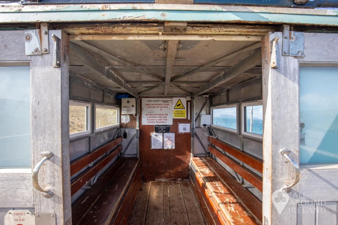 A peek through the wooden doors into the interior of the Dursey Island cable car