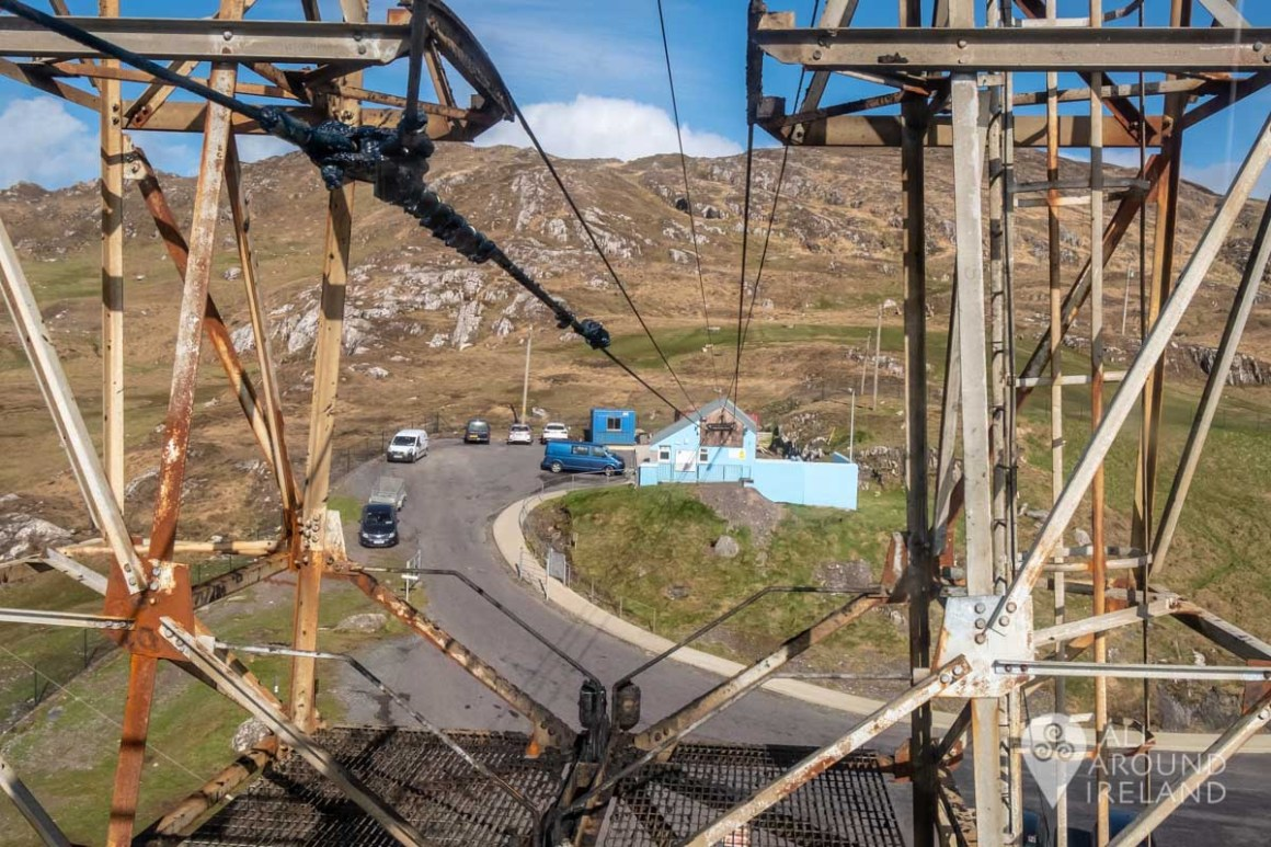 Passing the first pylon as the cable car leaves the mainland for Dursey Island