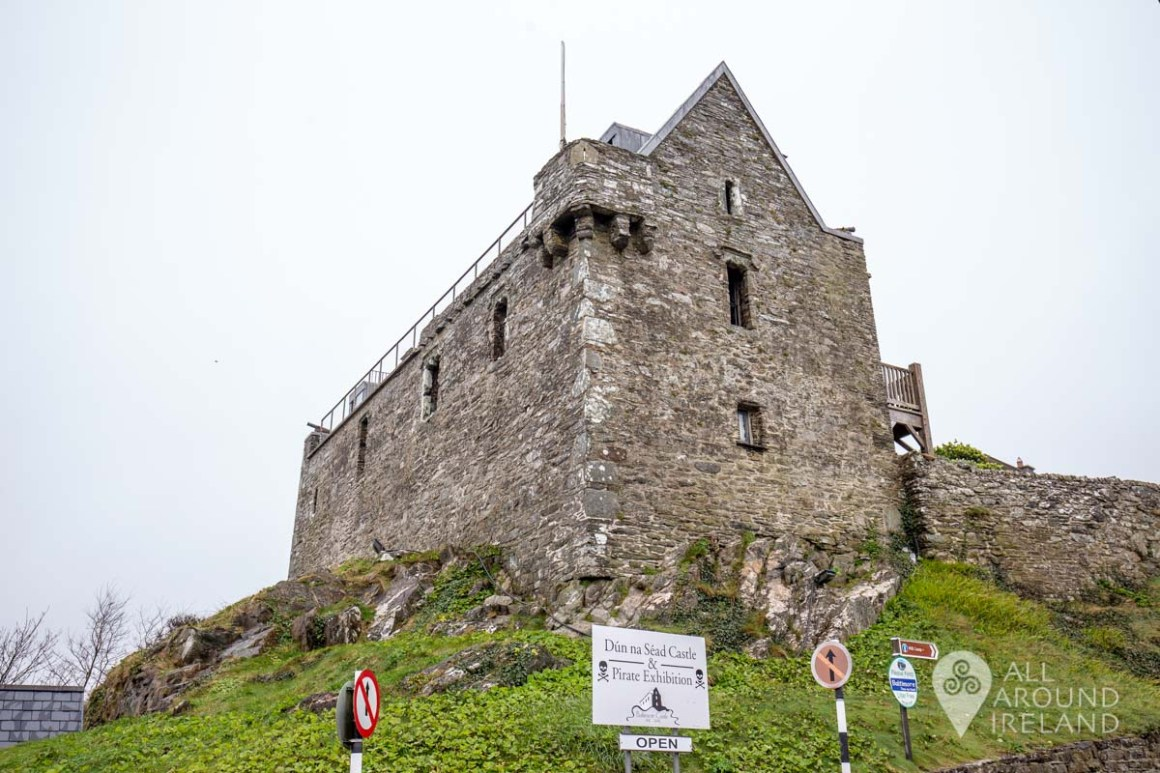 Looking up at Dun na Sead Castle from below.