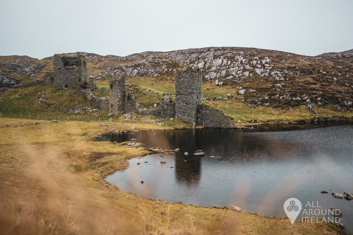 Looking across the lake to Dunlough Castle