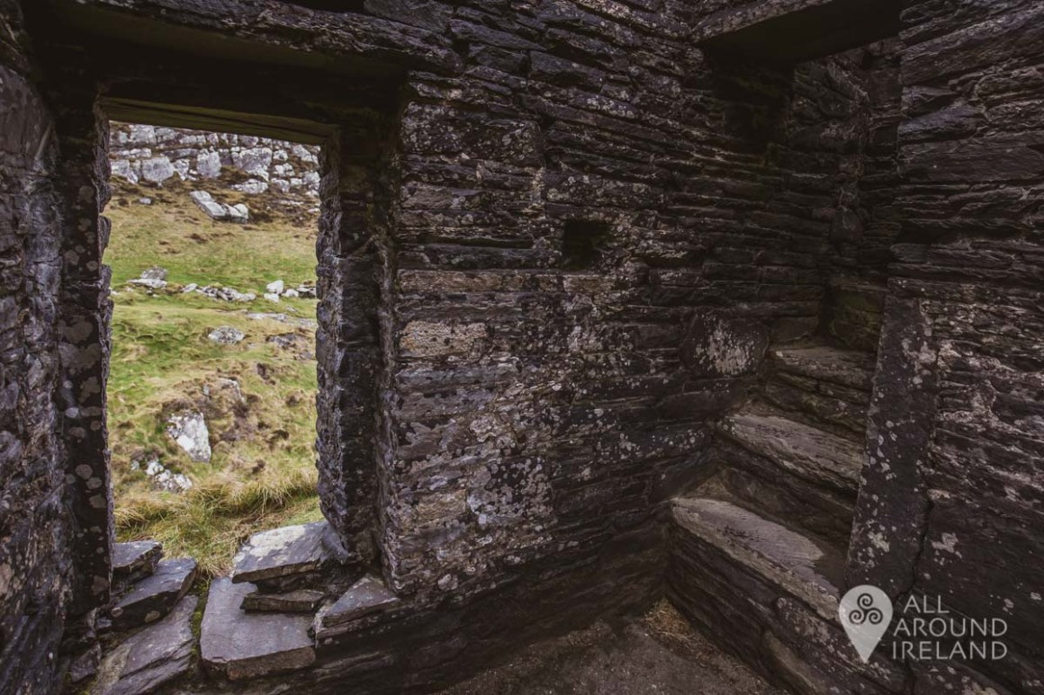 Inside one of the towers of Dunlough Castle