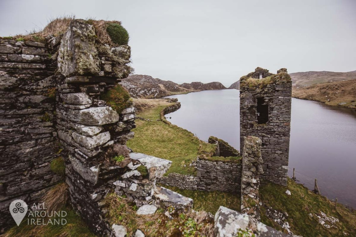 View towards the lake from the top of the middle tower of Dunlough Castle