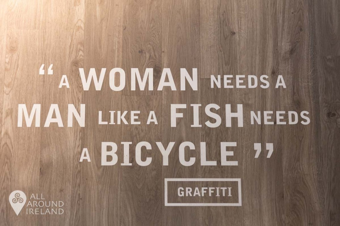 """A woman needs a man like a fish needs a bicycle"" - a quote on level three"