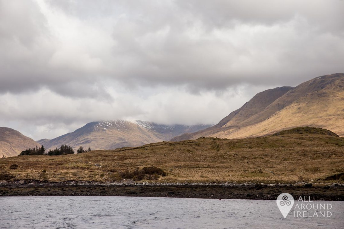 A sprinkling of snow visible on the peaks around Killary Harbour