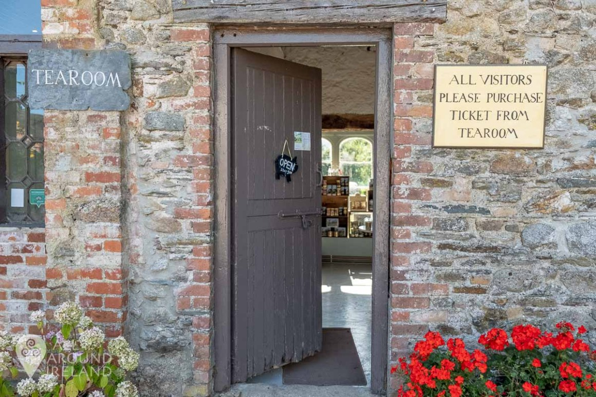 Looking through an open door into the tea rooms at Huntington Castle