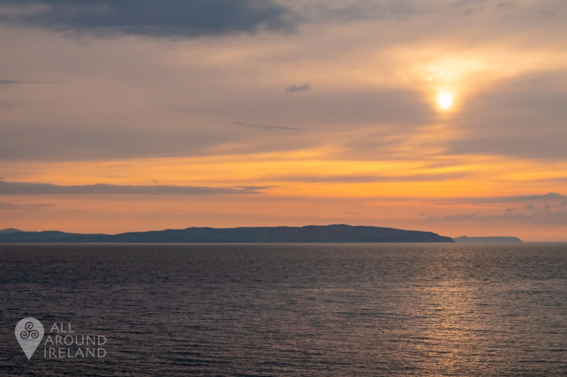 Sunset from our waterfront accommodation in Portstewart