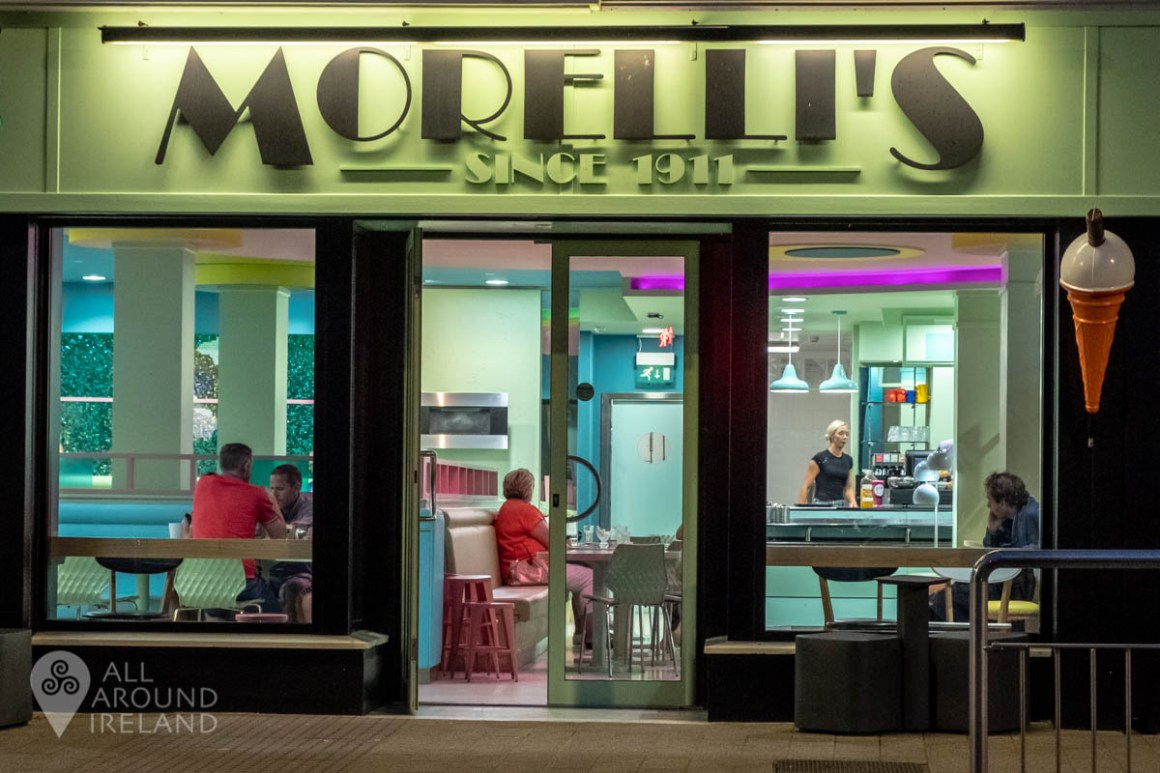 The facade of Morelli's of Portstewart at night