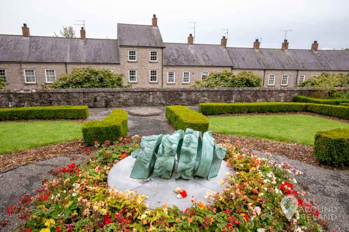 An unusual sculpture of a head in the gardens of St Patrick's Church of Ireland Cathedral