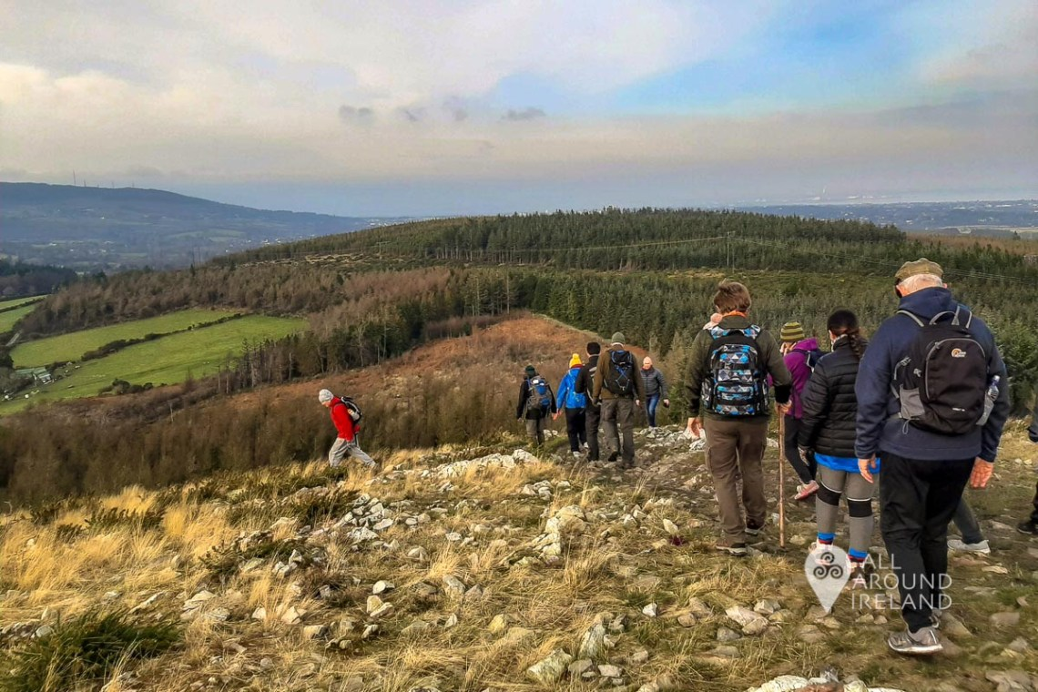 Participants walking down from Carrickgollogan hill on a free guided hike with the Dublin Moutains Partnership. In the distance are more hills and a large forest.