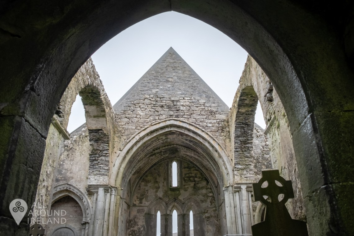 Inside the ruins of Corcomroe Abbey in the Burren