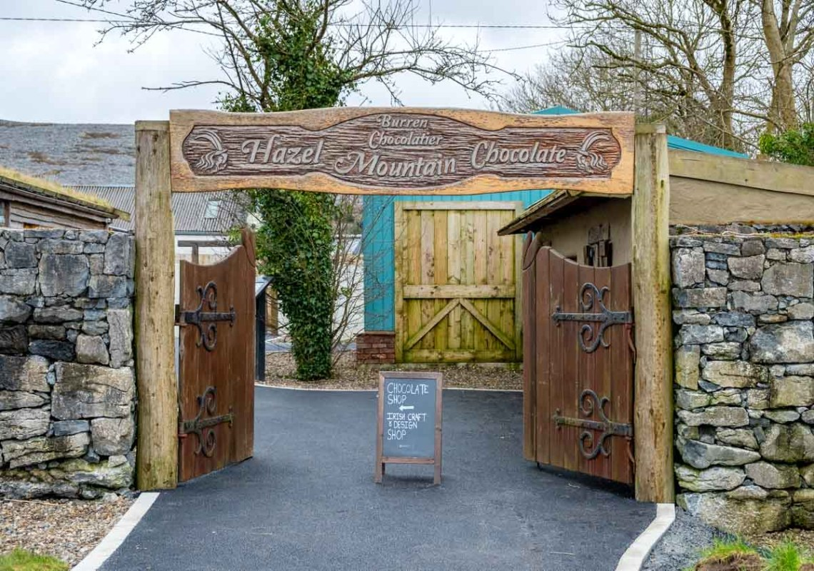 Entrance to the Hazel Mountain boutique chocolate factory in the Burren
