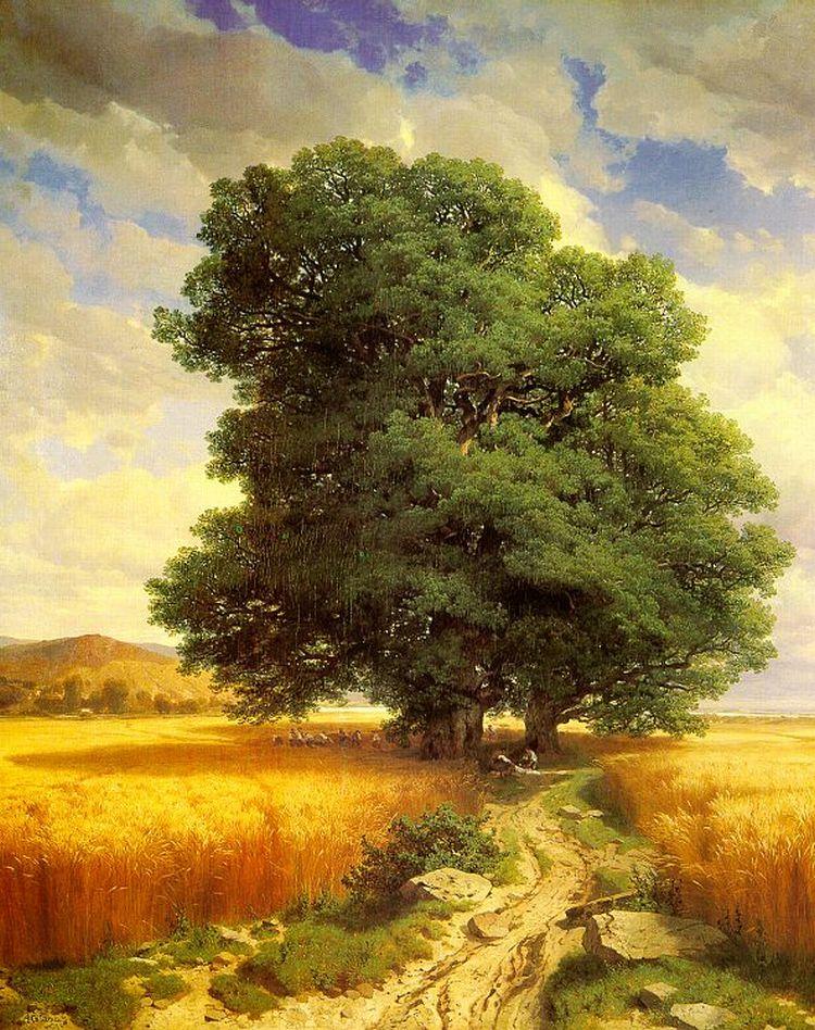 landscape with oak trees