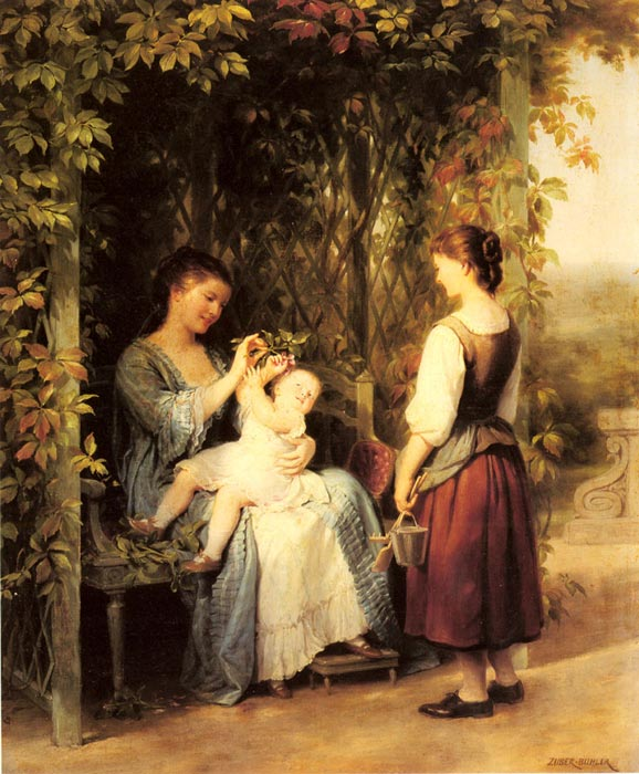 Paintings Reproductions Zuber-Buhler, Fritz Tickling the Baby