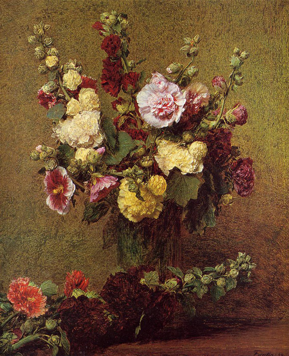 Paintings Reproductions Fantin-Latour, Ignace-Henri- Theodore Holly-hocks, 1892