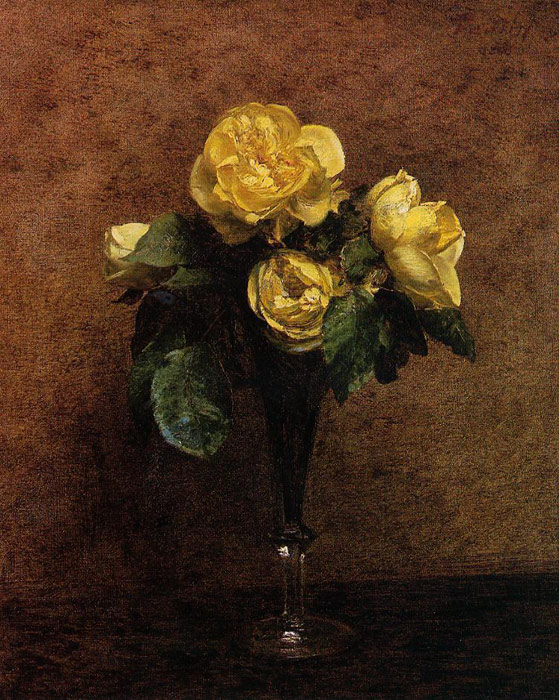Paintings Reproductions Fantin-Latour, Ignace-Henri- Theodore Fleurs: Roses Marechal Neil, 1883