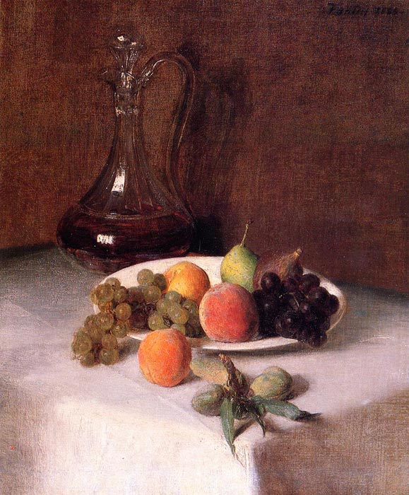 Paintings Reproductions Fantin-Latour, Ignace-Henri- Theodore A Carafe of Wine and Plate of Fruit on a White Tablecloth, 1865