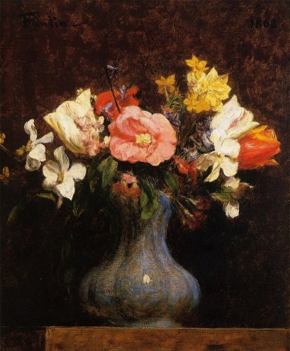 Paintings Reproductions Fantin-Latour, Ignace-Henri- Theodore Flowers, Camelias and Tulips