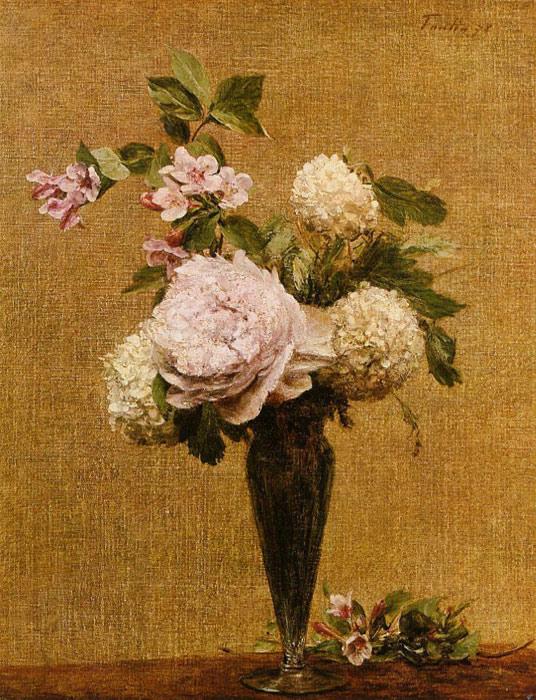 Paintings Reproductions Fantin-Latour, Ignace-Henri- Theodore Vase of Peonies and Snowballs, 1878