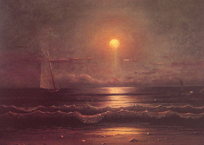 Paintings Reproductions Heade, Martin Johnson Sailing by Moonlight, c.1860