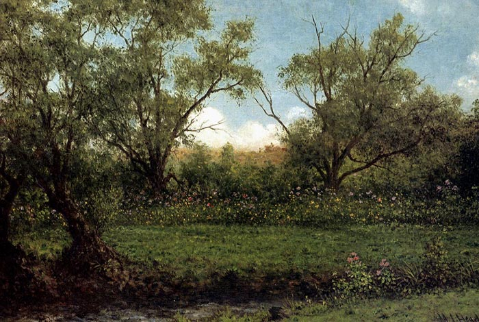 Paintings Reproductions Heade, Martin Johnson Brookside (Asters In A Field), c.1874-1875