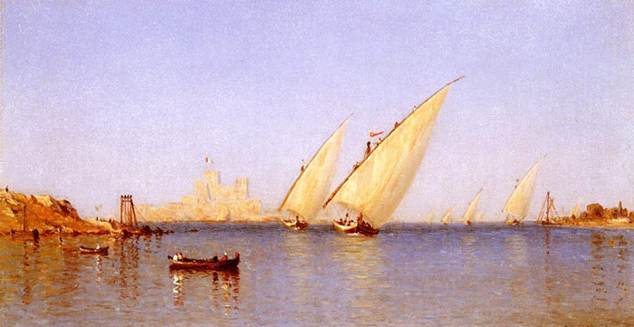 Fishing Boats coming into Brindisi Harbor, 1874