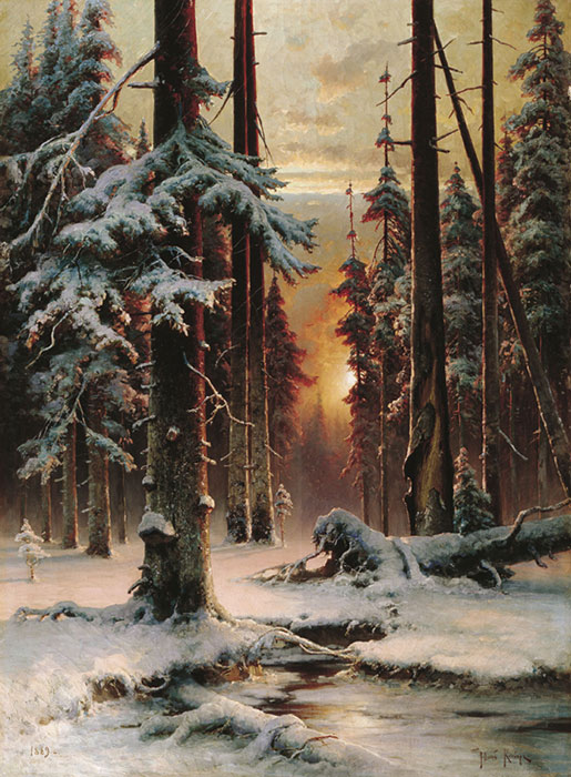 Paintings Reproductions Klever, Yuliy Yulevich (Julius) Winter Sun Dawn in a Forest, 1889