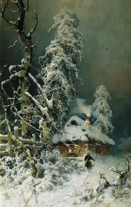 Paintings Reproductions Klever, Yuliy Yulevich (Julius) Winter Landscape with a Village