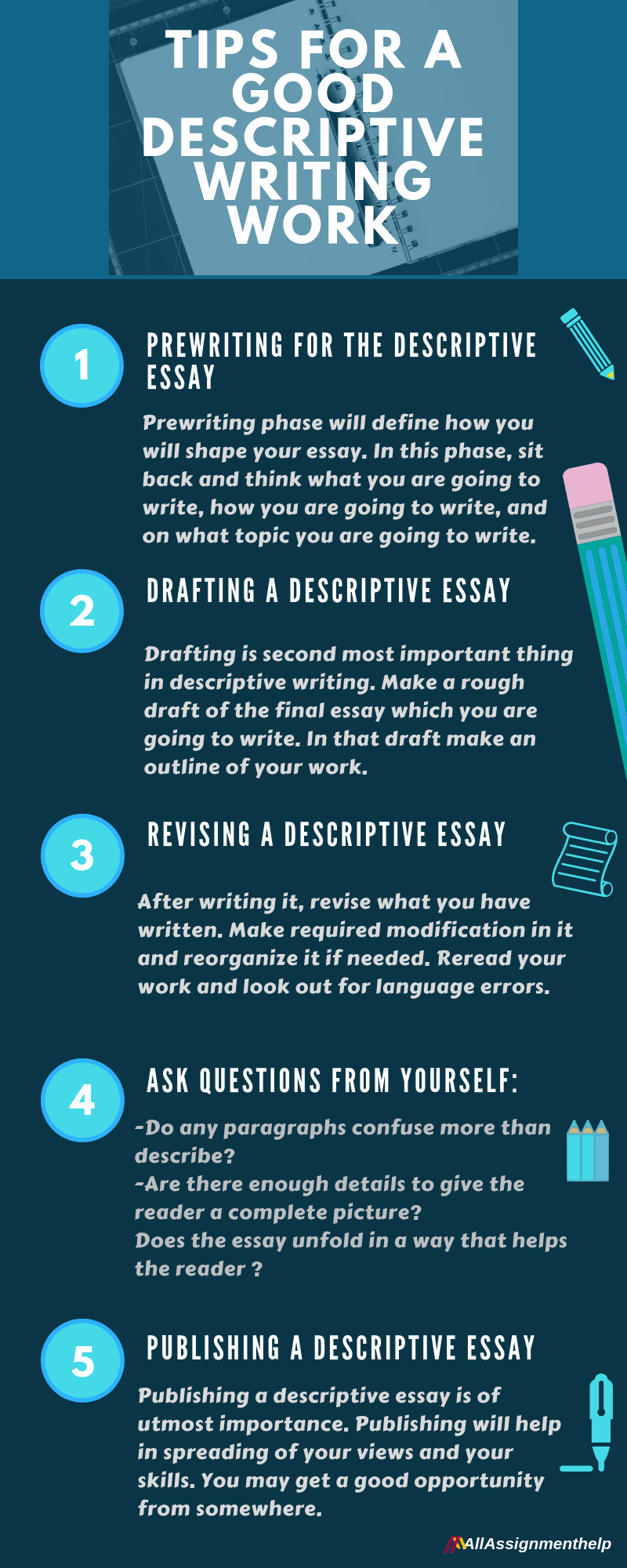 What should a descriptive writing include