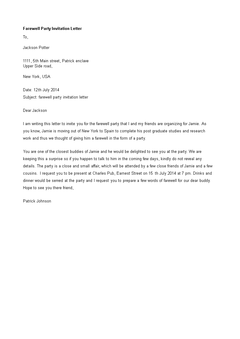 kostenloses farewell invitation letter