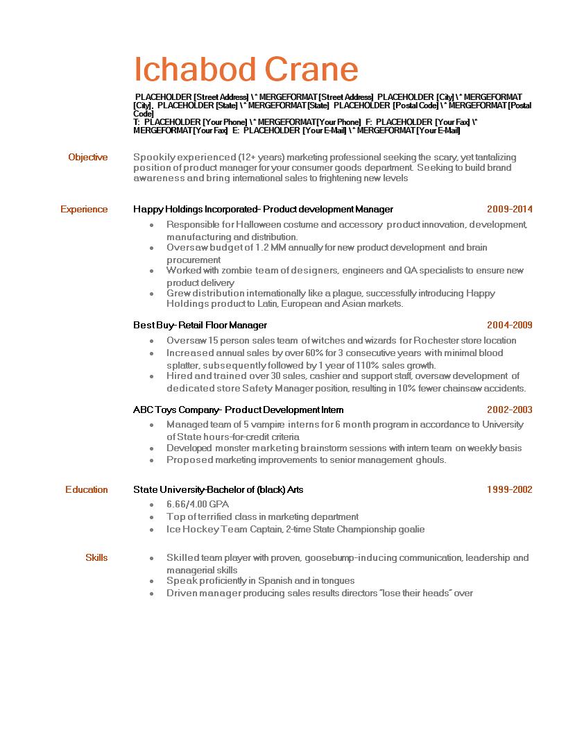 halloween themed resume templates
